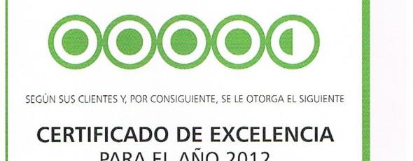 Restaurante-Tapería ANTIQUE es galardonado por TripAdvisor con un certificado de Excelencia para el año 2012
